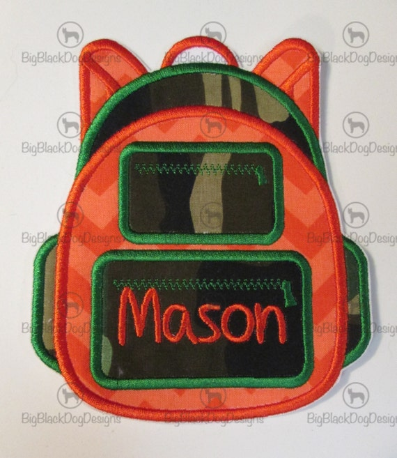 Iron On Applique - Boys and Girls Back To School Backpack