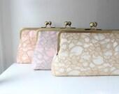 Bridesmaid Clutch Set | Bridesmaids Gift Ideas | Lace Clutch Purse | Monogram Clutch [Set of 3 Antoinette Clutches]