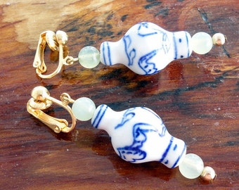 Vintage 1980s Clip On Earrings Blue and White Chinese Style Vase Beads