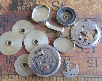 Vintage WATCH PARTS gears - Steampunk parts - n39 Listing is for all the watch parts seen in photos
