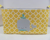 "XXL 18"" x 8"" x 10"" Fabric Organizer Basket Appliqued WHALE Storage Container Bin Bucket Bag Toy Bin Home Decor- Yellow Quatrefoil Cotton"