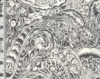 Fabric P&B LE JARDIN gray cream large PAISLEY design