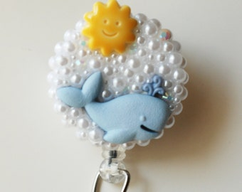 Baby Blue Whale ID Badge Reel - RN ID Badge Holder - Zipperedheart