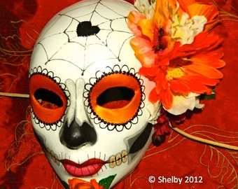 Day of the Dead Mask Mexican Electric Orange Sugar Skull