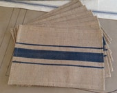 French Grain Sack Burlap Placemats with Navy Blue stripes Farmhouse / Lake House / Cottage Chic Design