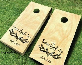 Corn Hole Decal Set, Personalized Name Decal for Wedding, yard game decals, cornhole board stickers, bride and groom names, wedding decor