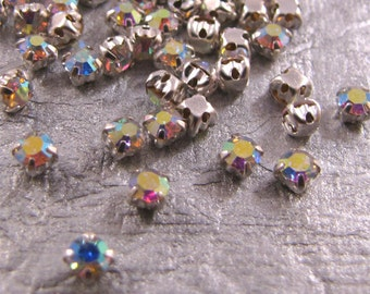 3mm Chaton Montee - Crystal AB (choice of color)