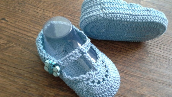 Handmade Heirloom Blue T-Strap Crochet Baby Booties by ...