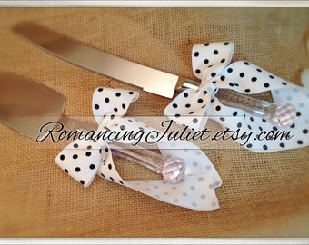 Custom Colors Cake Server Set ..You Choose The Bow Colors..shown in White with Black Polka Dots