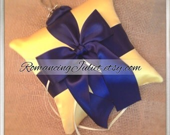 Pet Ring Bearer Pillow Large Size...Made in your custom wedding colors...show in yellow/navy blue