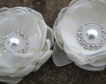 Cream White Colored Flower Hair Pins - Brooches Set of 2