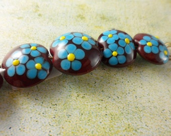 Lampwork Beads Set - Turquoise Daisies on Red Lentils - SRA