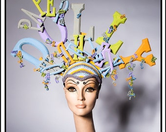 SALE 15 % OFF SALE  Paper Dolly… Huge Headdress with Comic Book Letters Headdress