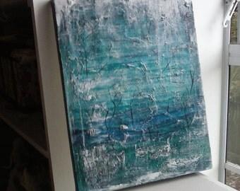 Winter landscape original art canvas, blue original wall art, turquoise abstract art, winter painting, teal textured art, abstract landscape
