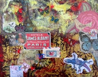 SALE, Red Original Mixed Media Painting, Paris, Collage, Art Canvas, gift idea