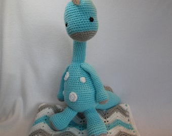 Baby blanket afghan  dinosaur gray turquoise white or CHOOSE YOUR COLORS