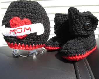 Baby motorcycle tattoo hat boots booties