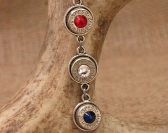 Bullet Jewelry - 4th of July - Triple 9mm Patriotic Bullet Casing Necklace - A 4th of July Favorite - 2nd Amendment - Red, White and Blue