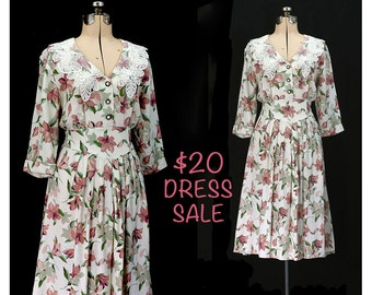 SALE! Vintage 80s Bouquet of Sweetness Dress