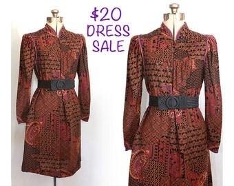 SALE! Vintage 70s La Boheme Nouveau Dress