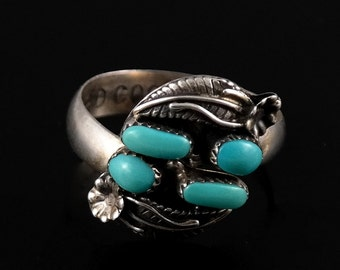 Ring, Size 8.5, Adjustable, Turquoise, Sterling Silver, PD Coonsis, 925 Silver, Wrap Around, Muti Stone Ring