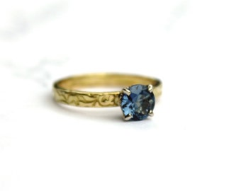 SALE . unique alternative engagement ring . gold engagement ring . blue spinel engagement ring . handcrafted ring . ready to ship size 7