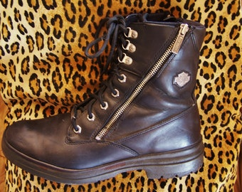 Harley Davidson, Black Leather Boot, Biker Boot, Harley Boot, men size 10 /  UK 9 / EUR 48