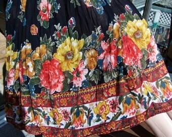 Floral Skirt, Gypsy skirt, Indian skirt, Festival skirt, Hippie skirt, Cotton maxi skirt,  size OSFM