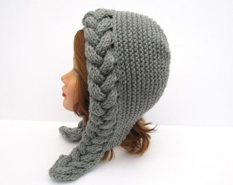Cable Knit Hood Hat - Oxford Gray Bonnet - Chunky Earflap Hat - Women's Headwear - Fall / Winter Fashion - Knit Accessories