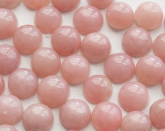 One Cute Pink Peruvian Opal Round Cabochons - 6mm