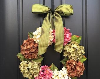 Wreath, Wreaths, Summer Wreath, Hydrangea Wreath,Summer Door Wreaths, Front Door Wreaths, Door Wreath, Outdoor Door Wreaths, Hydrangea
