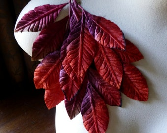 Red Leaves  Velvet Large  for Bridal, Boutonierres, Bouquets, Millinery ML 133red