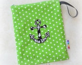 Damask Anchor Zippered Wetbag with Snapping Handle, Size 10x12 - Instock