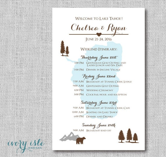 Lake Tahoe Wedding Weekend Itinerary Card Destination