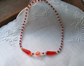 Czech Glass Bead Necklace/Mari Gras Beads Assorted Shapes in Red, Orange and Clear Vintage 1920's