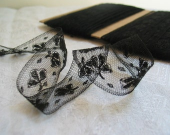 Antique Chantilly Lace Trim in Black Cotton Insertion Lace sold by 2 Yard Pieces