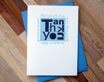 Blue Thank You Letterpress Greeting Card
