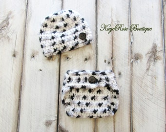 Newborn Baby Boy Hat and Diaper Cover Set Variegated Black Gray and White