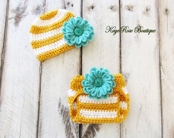 Newborn to 3 Month Old Baby Girl Crochet Teal Flower Hat and Diaper Cover Set Amber and White Stripes