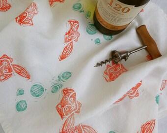 River Fox Linen Tea Towel, Dish Cloth, Hand Printed Dish Towel