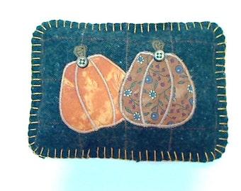 Pumpkin Appliqued Sachet Pillow | Holidays | Fall Decor | Thanksgiving | Wool Pumpkin Pillow | Primitive Folk Art | Handmade | #2