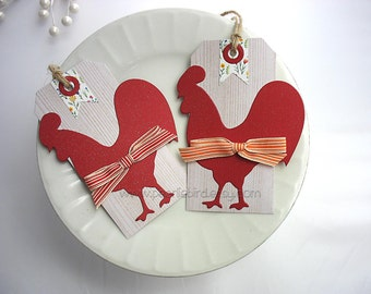 Country Red Rooster with Bow Wood Grain Gift Tags, Set of TWO, Gift Topper, pretty packaging, kraft, red, gold, orange