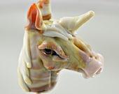 Unicorn - magic - fantasty - glass horse unicorn bead  - focal bead -   lampwork glass sculpture bead -  from Izzybeads SRA UK