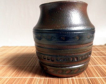 handmade Stoneware Vase / pot, Indian / Southwest carved surface