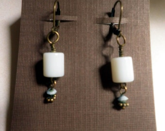 Milk Glass, turquoise and brass dangle earrings