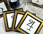 5 Framed 3x3 inch Table Numbers Shabby Simple Black & Gold for Weddings and Events