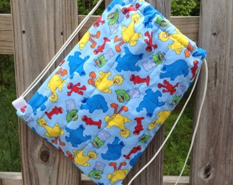 Quilted Backpack for Toddler Drawstring Closure, Sesame Street Friends