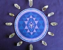 Violet Sri Yantra Healing Mandala Altar Cloth, Crystal Grid