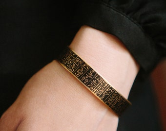 Skinny Book Cuff Bracelet - Book of the Dead - Hieroglyphic Egyptian Jewelry - Ancient Egyptian Hieroglyphs