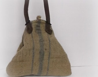 french vintage style burlap  upcycled  recycled  eco granny chic bag
